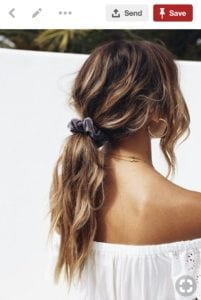 Pinterest image of loose ponytail with scrunchie