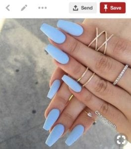 Pinterest image of pretty blue nails