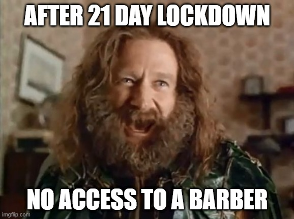 """""""After 21 day lockdown, no access to a barber"""" meme"""